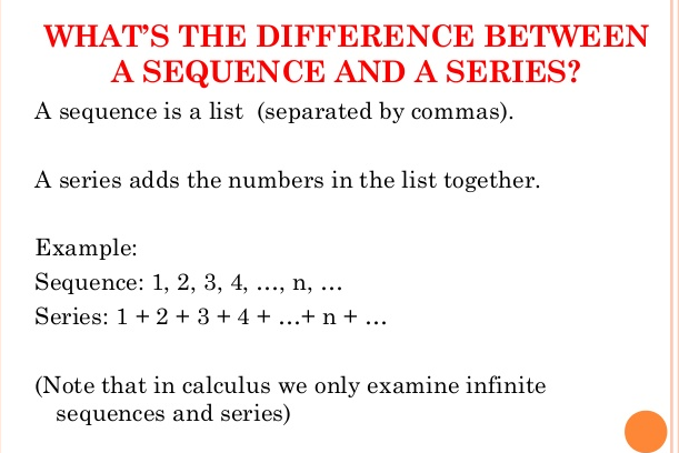 Difference between Series and Sequence