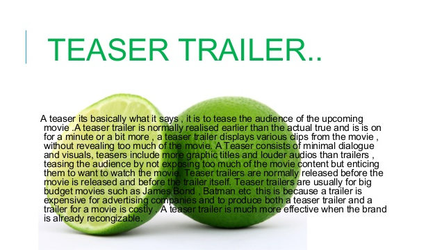 Difference between Teaser and Trailer