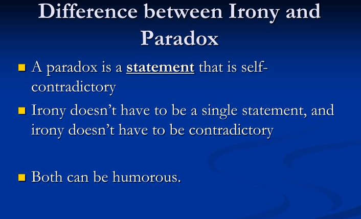 What is Difference between Paradox and Irony
