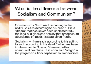 Difference between Socialism and Communism