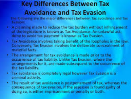 Difference between Avoidance and Tax Evasion